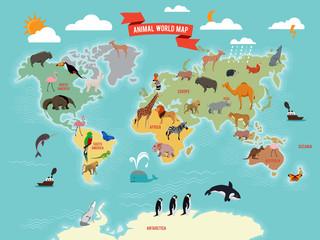 Illustration of wildlife animals on the world map. Vector illustrations set