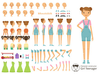Young smile girl casual style. Mascot creation kit with different body parts. Vector cartoon constructor