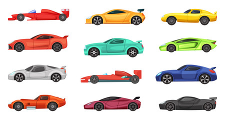 Poster Cartoon cars Different sport cars isolated on white. Vector illustrations of racers on road