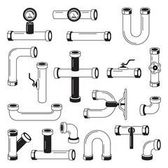 Tools for water pipeline isolated on white. Monochrome pictures. Vector silhouette