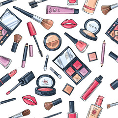 Makeup seamless pattern. Illustrations of different cosmetics