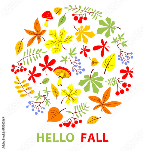Autumn Floral Card. Fall Season Vector Illustration. Hello Fall  Inspirational Quote