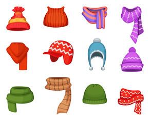 Set of winter scarfs and caps with different colors and styles