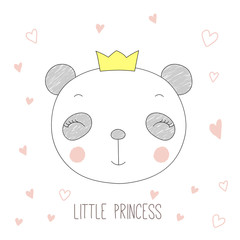 Hand drawn vector portrait of a funny panda girl in a crown, with hearts and text Little princess.