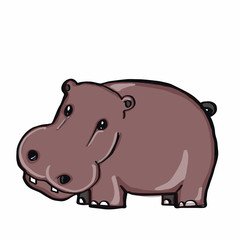cute hippo and white background