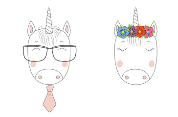 Hand drawn vector portraits of a funny unicorns girl and boy in flower chian and glasses.