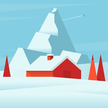 illustration of a hut in the snowy mountains