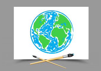drawing Earth on white paper