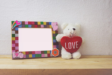 Picture Frame and Bear doll for Home Decoration