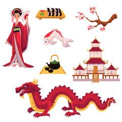 Set of Japanese culture elements - geisha, sakura, koi, sushi, pagoda, tea, dragon, cartoon vector illustration isolated on white background. Set of Japanese culture symbols, icons, elements