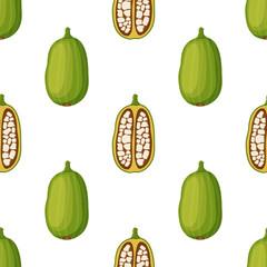 Baobab seamless pattern. Cartoon flat style. Vector illustration