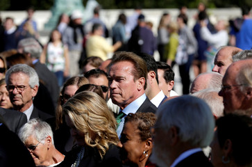 Actor and former California Governor Arnold Schwarzenegger waits to speak after oral arguments in Gill v. Whitford at the Supreme Court in Washington