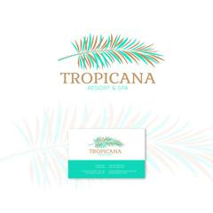 Tropicana logo. Resort and Spa emblem. Tropical cosmetics.