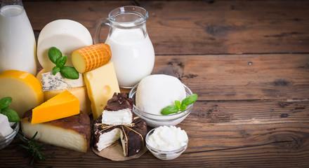Foto auf AluDibond Milchprodukt Various dairy products