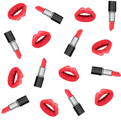 Seamless background with the image of lips and lipstick. Simple seamless background. Vector. Vector illustration.