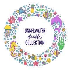 Under water doodle icons round vector frame