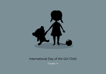 International Day of the Girl Child vector. Children worker vector illustration. Little girl with teddy bear silhouette. Important day