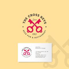 Cross keys pub logo. Two keys with letters emblems on a yellow background. Keys icon.
