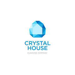 Construction, property or cleaning company emblem. Crystal house logo. Silhouette of a house in a crystal.