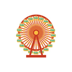 Colorful cartoon front view Ferris wheel carousel, amusement park ride, vector illustration isolated on white background. Cartoon style illustration of big, observation, Ferris wheel