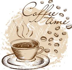 Coffee time hand drawn
