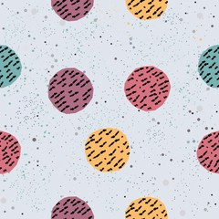 Cute Background. Seamless Pattern with hand drawn balls