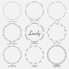 Vector Set Of Dividers Round Frames For Decoration. Handmade Vector Illustration.