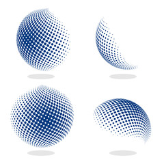 Abstract globe dotted sphere, 3d halftone effect vector background. Color set of vector illustration.