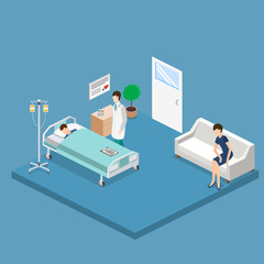 Isometric 3D vector illustration interior of hospital room with patient and doctor.