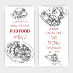 Vector sketch of fast food pub menu