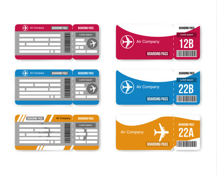 Set Travel concept airplane tickets Isolated on white background. Vector illustration