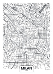 Detailed vector poster city map Milan