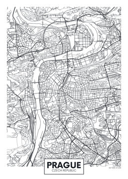 Detailed vector poster city map Prague