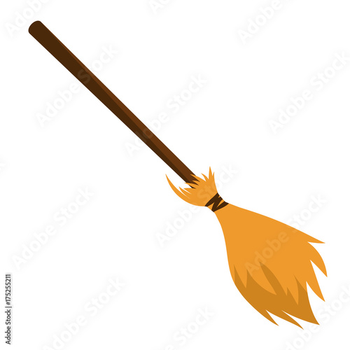 besom made from twigs on a long wooden handle  vector