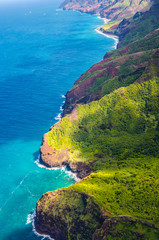 View on Napali Coast on Kauai island on Hawaii