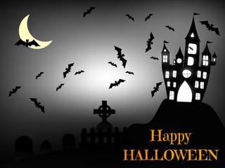Halloween bats and dark castle on gray  background. Vector illustration.