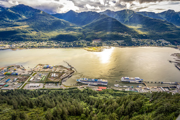 JUNEAU, ALASKA-SEPT 2, 2017: Juneau pier where all big cruise come by as a gate way to Alaska. Juneau is the capital of Alaska.