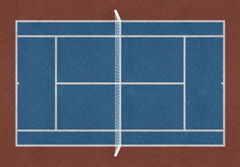Tennis field. Tennis blue court. Top view. Isolated. Sports mesh