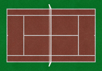Tennis field. Tennis brown court. Top view. Isolated. Sports mesh