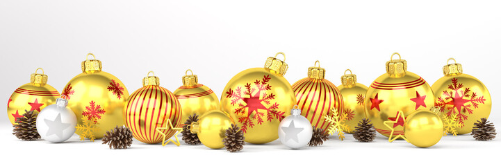 3d render of many golden and silver christmas baubles and christmas decorations over white background - panorama - merry christmas concept