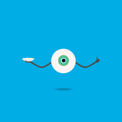 The human eye of the cartoon keeps the contact lens