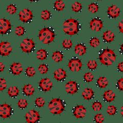 Ladybug Seamless Pattern on Green Background