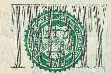 Close up on US dollar banknotes. U.S. Federal reserve system on US Dollar banknotes. Shooting by 1:1 Macro lense.