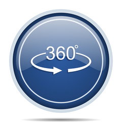 Panorama 360 blue round web icon. Circle isolated internet button for webdesign and smartphone applications.