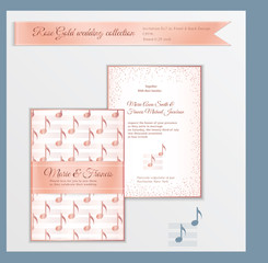 Luxury wedding invitation template with rose gold shiny realistic ribbon