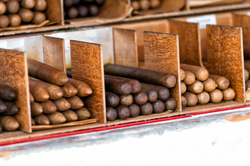 Cuban cigars in boxes in Key West, USA
