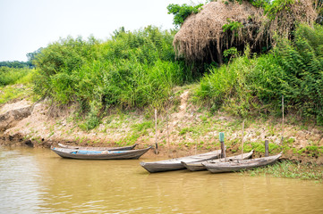 Wooden boats at mooring on river bank in Santarem, Brazil