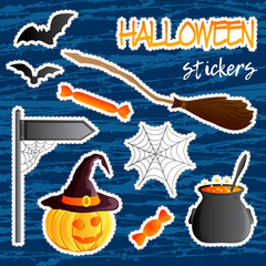Vector set of festive stickers. Halloween theme. Traditional holiday symbol Jack o lantern, witch hat, broom, cauldron, bat, web. Abstract blots background.