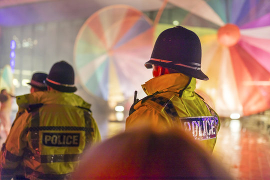 Police Officers provide security at a festival in Doncaster, Yorkshire, England