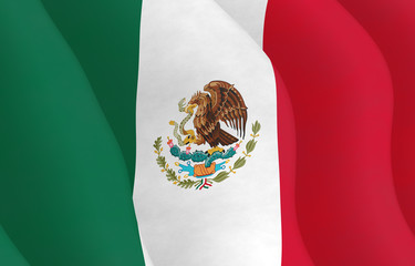 Illustration of a flying Mexican Flag